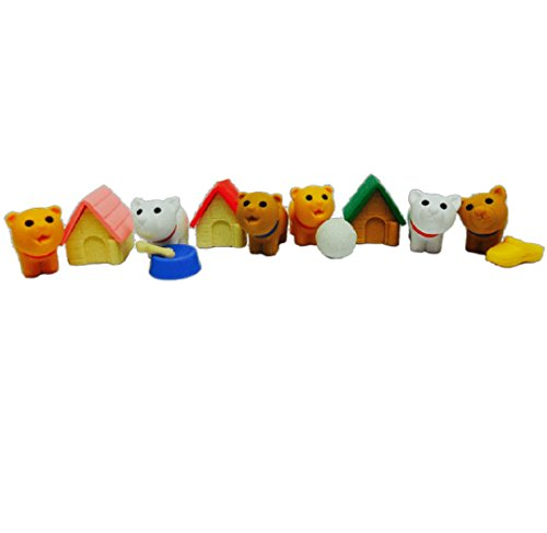 Iwako 6 Cute Small Puppy Dog with Stuff Japanese Erasers (6 Sets) New!!