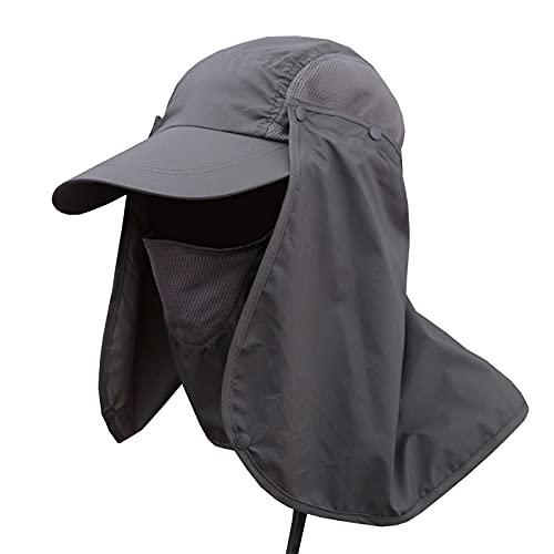 Sombrero De Protección Solar para Hombres Y Mujeres, Verano, Exterior, Protección Facial, Protección UV, Visera De Sol para Mujer, Sombrero De Pesca, Sombrero De Pescador, Gris Oscuro