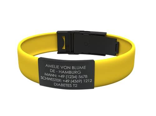 Djuva Trim Black Verstellbares Notfallarmband mit Gravur aus schwarzem Edelstahl, Armband für Herren, Damen, Kinder und Senioren Notruf. SOS Armband. Geschenke für Männer. Personalisierter Schmuck