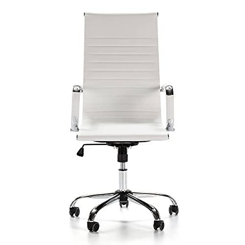 HO-TBO Silla de oficina para silla ejecutiva con cojín grueso, ajustable y sillas de oficina adecuadas para la oficina diaria (tamaño único; color: blanco)