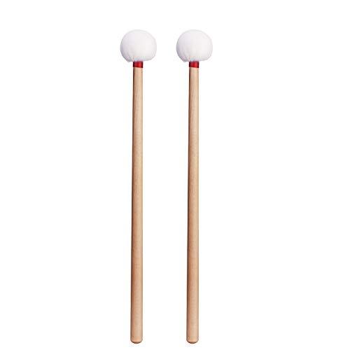 Canomo 2 Pack Timpani Mallets Sticks Felt Head Drum Sticks Mallets with Wood Handle, 14.5 Inch