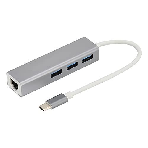 Dilwe 4 en 1 USB C Hub RJ45 Adaptador Ethernet USB C a 3 X USB 2.0 5Gbps Transmisión de Datos para tabletas, teléfonos móviles, computadoras portátiles con Interfaz USB C