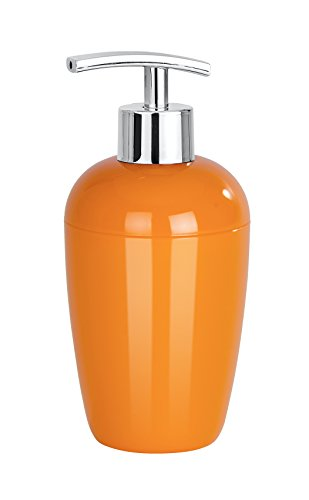 WENKO 21973100 Seifenspender Cocktail, Flüssigseifen-Spender, Spülmittel-Spender Fassungsvermögen: 0,43 l, Polystyrol, 8 x 17,5 x 8 cm, orange