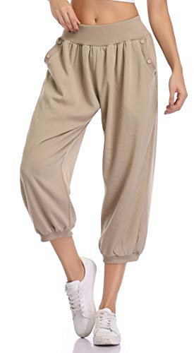 MISS MOLY 3/4 Hose Damen Haremshose Pumphose Bequeme Hose Hippe Sommerhose Leicht Khaki Medium