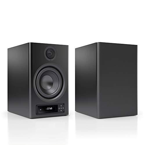 Nubert nuPro X-4000 RC Regallautsprecherpaar | Bluetooth Lautsprecher aptX HD | Lautsprecher Verbindung kabellos High Res | Aktivboxen mit 2 Wegen | High End Kompaktlautsprecher Schwarz | 2 Stück