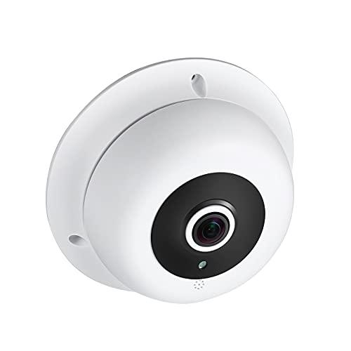 Revotech Fisheye Cámara IP con Micrófono, 3MP Domo Interiores Cámara de Seguridad con Audio ONVIF P2P Lente de 1,7 mm Visión Nocturna IR Cámara de Video CCTV H.265 (IF04-Audio Blanco)