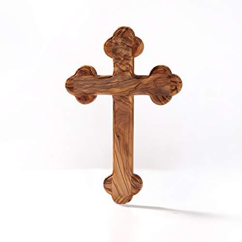 KASSIS Olivenholz Kreuz Kruzifix Wandkreuz schlicht mit runden Kanten zum Aufhängen aus Bethlehem zur Firmung, Taufe, Kommunion 22 cm x 15 cm