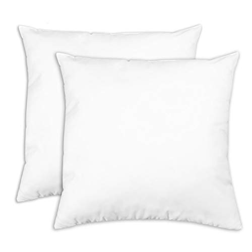 ZOLLNER 2er Set Dekokissen, 40x40 cm, 100% Polyester, 215 g, weiß
