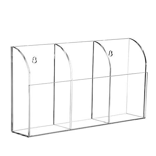 Soporte de acrílico para mando a distancia, soporte de pared para el aire acondicionado de la TV o de la mesa, transparente para 3 mandos a distancia