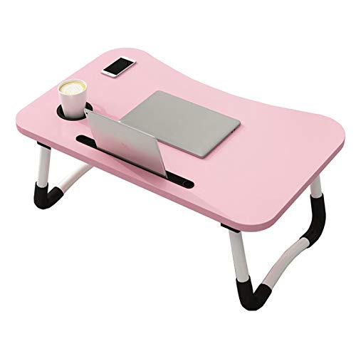 Laptop Bed Table,Breakfast Tray with Foldable Legs,Portable Lap Standing Desk,Notebook Stand Reading Holder for Couch Sofa Floor(Pink)