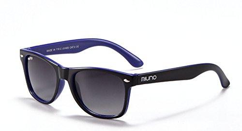 Miuno® Kinder Sonnenbrille für Jungen und Mädchen Etui 2688 (Schwarz/Blau)