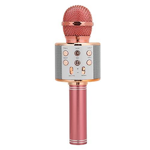 Lazimin Micrófono de Karaoke inalámbrico, DC5V Bluetooth 4.1 Micrófono Capacitivo de Mano, Reducción de Ruido, Panel de Ajuste Multifuncional, Adecuado para Windows/Mac/iOS/Android(Oro Rosa)