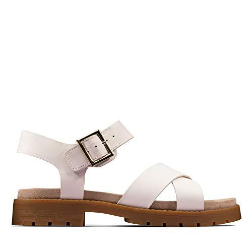 Clarks Damen Orinoco Strap Slingback Sandalen, Weiß (White Leather White Leather), 42 EU