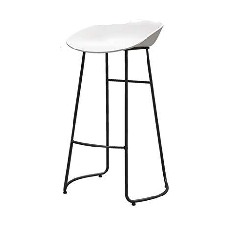 Qi Tai/Breakfast barkruk- Stijlvolle barkruk, casual cafe hoge kruk, zwart/wit PP kunststof stoel en smeedijzeren steigers, 65cm/70cm/75cm Salon kruk XX-Large Kleur: wit