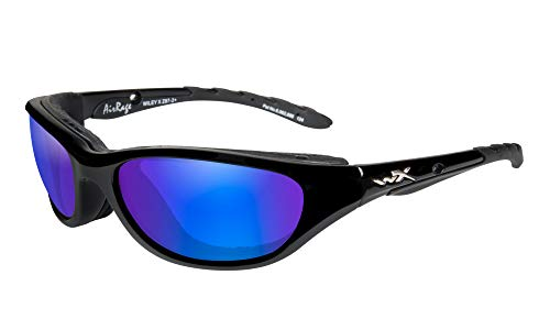 Wiley X Airrage Gloss Black Frame with Polarized Blue Mirror Lenses