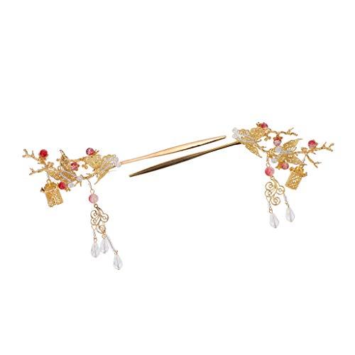 Harilla Paquet De 2pcs Pinces à Cheveux Gland épingles à Cheveux Dorées Papillon De Style Chinois