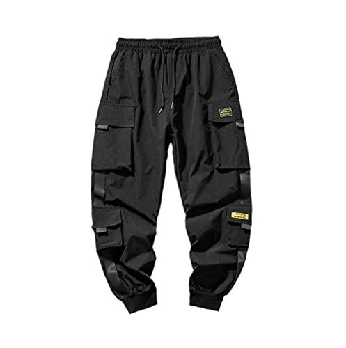 Pantalones de Hombre Moda Hombre Pantalones Harem de Hip Hop Multibolsillos Pantalones de chándal Streetwear Hombres Pantalones de Carga de Moda Casual Ropa de Hombre-B_XL