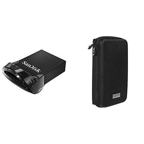 SanDisk Ultra Fit Unità Flash, USB 3.1 da 128 GB con Velocità fino a 130 MB/sec & Amazon Basics Custodia da viaggio universale per dispositivi elettronici e accessori