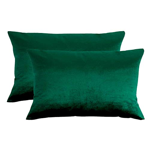 Essencea - Fundas de cojín de terciopelo, 12 x 18 pulgadas, fundas de almohada sólidas europeas | Verde | para sofá, dormitorio, coche | Juego de 2