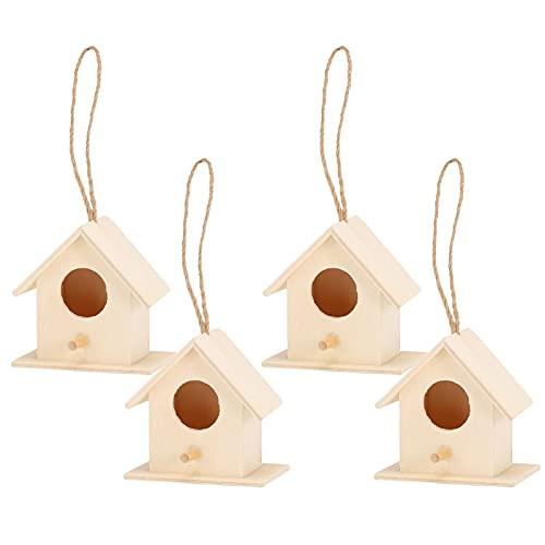 GAESHOW 4 Piezas de Madera para nidos de pájaros, Caja de cría de pajarera Colgante, Jaula de pájaros para decoración de jardín, pequeña