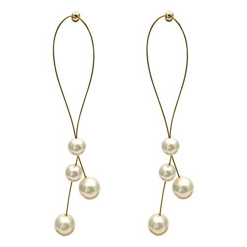 YLHJM Long Simulated Pearl Drop Earrings for Women Temperament Ear Line Tassel EarringsGift