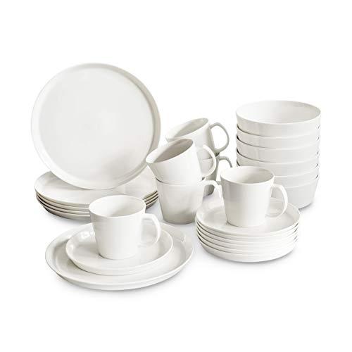 Porzellan Geschirrset 24 tlg. Svea, Weißes Geschirrservice für 6 Personen aus Fine Bone, skandinavisches Design