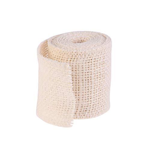 SUPVOX Cinta de arpillera de yute cintas de tela rollo de cinta de envoltura de regalo de hessian decoración vintage para manualidades diy boda navidad 2 m (crema)