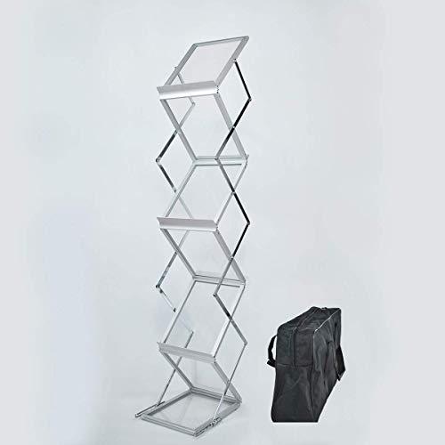 Expositor para catálogos (plegable, cromado/aluminio, DIN A4, 2 caras, con práctica bolsa...