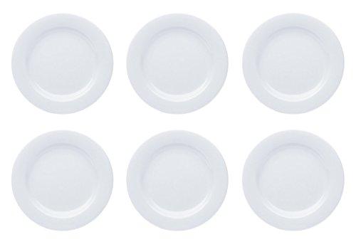 Teller Porzellan Weiß Speiseteller Suppenteller Dessertteller Pastateller Schüssel 6 Stück Set Modell-Auswahl, Modell:19 cm Ø Teller flach