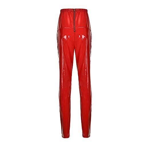 FRAUIT kunstleren broek dames club party skinny shiny broek smooth coated pants