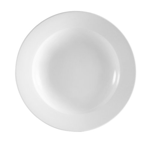 CAC China RCN-105 Clinton Rolled Edge 10-1/2-Inch Super White Porcelain Pasta Bowl, 18-Ounce, Box of 12