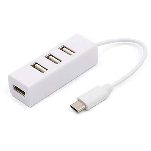 SBSNH Tipo C a 4 Puertos USB 3.0 HUB USB 3.1 Adaptador Adaptador Adaptador de envío Cargador de Coche Convertidor de Cable (Color : White)