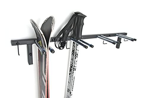 porta sci da muro portasci parete rastrelliera Supporto da sci per 4 paia di sci, 83 cm