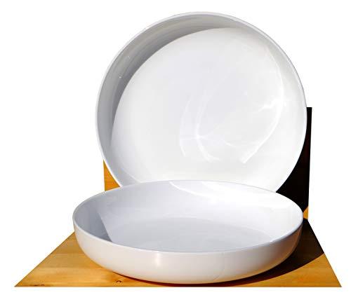 GOTO White Noodle & Pasta ceramic Bowls 23cm x2