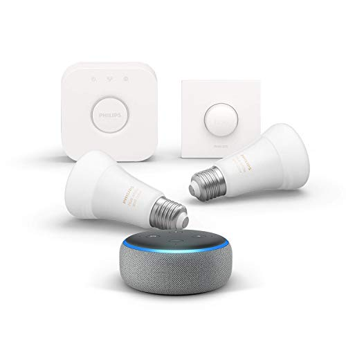 Echo Dot (3. Gen.), Hellgrau Stoff + Philips Hue White & Color Ambience LED 2-er Starter Set, Funktionert mit Alexa