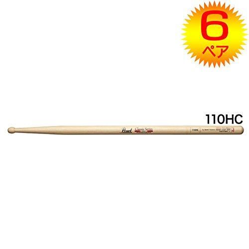 【6ペア】Pearl パール 110HC ヒッコリー ドラムスティック クリアラッカーフィニッシュ [14.5x398]
