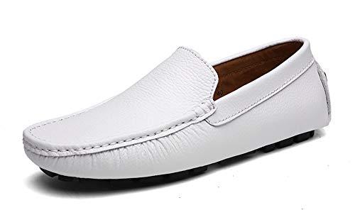DUORO Herren Mokassins Leder Handgefertigt Loafers Freizeitschuhe Halbschuhe 38-47 (44 EU, Weiß)