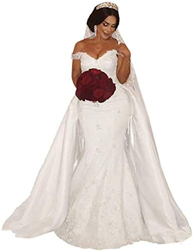 iluckin Off Shoulder Mermaid Wedding Dress with Detachable Train Applique Beaded Crystal Lace-Up Bridal Gown White