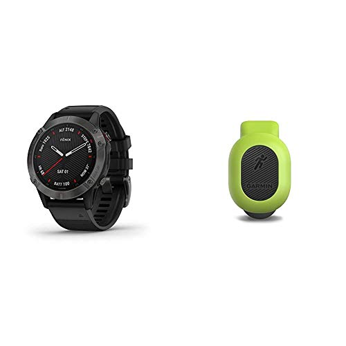 Garmin Fenix 6 Sapphire, Premium Multisport GPS Watch, Features Mapping, Music, Grade-Adjusted Pace Guidance and Pulse Ox Sensors, Dark Gray with Black Band & 010-12520-00 Running Dynamics Pod