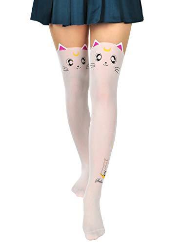 CoolChange Artemis Strumpfhose mit Katzengesicht für Sailor Moon Fans | Weiß