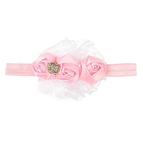 Accessoire Cheveux Ruban Bébé Rose Dentelle Fleur Bandeaux Fille Enfants Pink