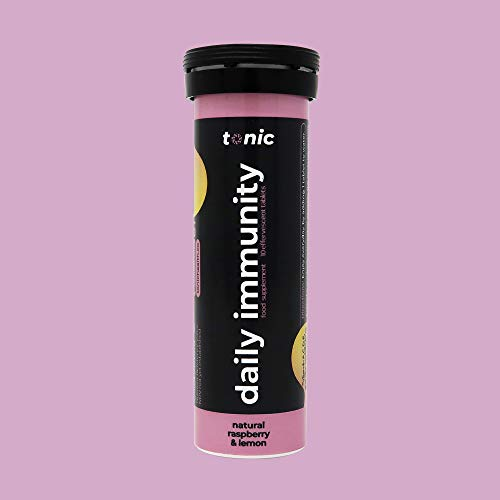 Tonic Daily Immunity Drink, Effervescent Multivitamins, Vegan Multivitamin Tabs in Delicious Raspberry & Lemon Flavour, Boost Immunity with Multivitamins A, C, D, E, Zinc & More - 60x Tablets