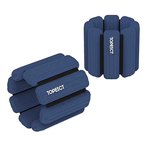TopEsct Adjustable Wrist Weights - Set of 2 (1lb Each) | Durable Wearable Wrist & Ankle Weights Bracelet for Yoga, Dance, Barre, Pilates, Cardio, Aerobics, Walking (Dark Blue)