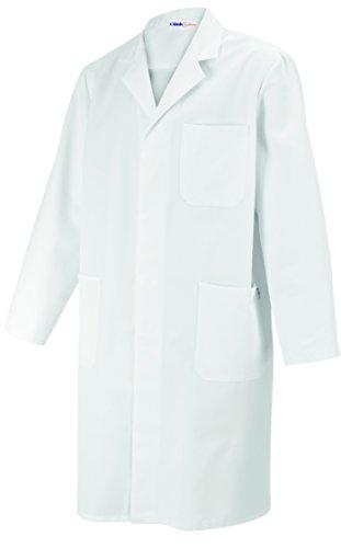 clinicfashion 12210007 Laborkittel weiß Unisex für Damen und Herren, Reverkragen, 100% Baumwolle, Größe S