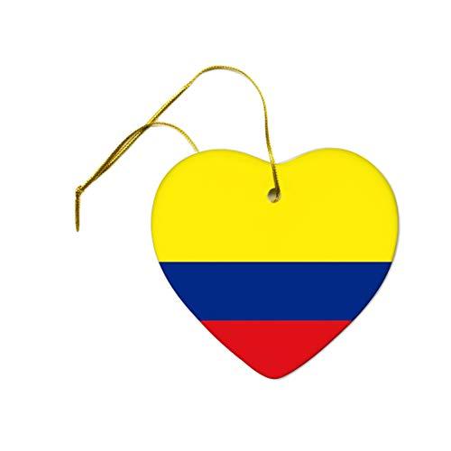 565pir Bandera de Colombia sobre un adorno de corazón de cerámica colgante