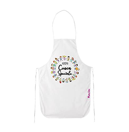 pazza idea grembiule bianco cucina scritta 100% cuoca speciale asilo scuola regalo
