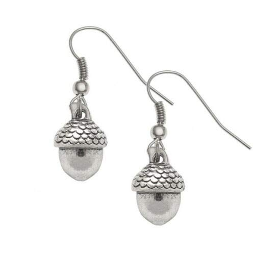 Silver Knight Pendientes de gancho de plata tibetana con detalle de bellota y ganchos de plata de ley, incluye bolsa de regalo de organza