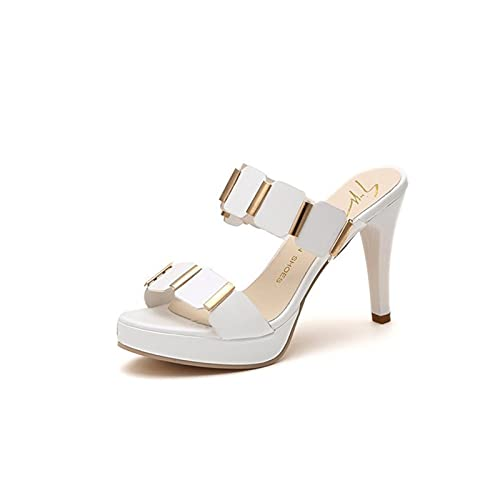 AIYISITELU Mujeres Sexy Tacón alto Mules Zuecos Botas de pescado Negro Botas de tobillo High Finas Slippers Slippers Slip On Sandal Shoes Buty Damskie JJPPENG ( Color : White , Shoe Size : 34 )