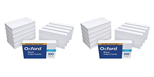 """Oxford Blank Index Cards, 3"""" x 5"""", White, 1,000 Cards (10 Packs of 100) (30) (Тwo Рack)"""