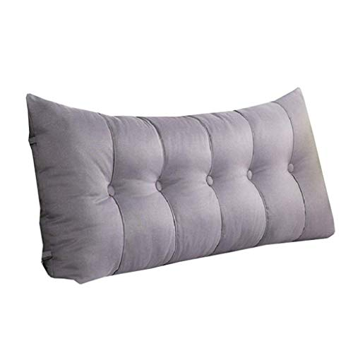 WYJW driehoekig kussen voor hoofdeinde, gewatteerd, rugkussen, soft bed, breed, ter bescherming van nek en rug, grijs (maat: 120 & times; 6